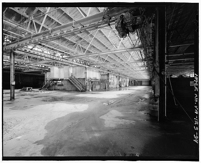 Ford Alexandria Plant INTERIOR, SERVICE BUILDING, LOOKING NORTHEAST FROM SOUTHWEST CORNER TOWARDS CENTRAL BAYS