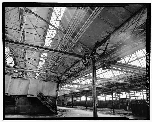 Ford Alexandria Plant INTERIOR, SERVICE BUILDING, DETAIL VIEW LOOKING UP FROM WEST AT TRUSSES AND PIER CONNECTIONS IN CENTRAL AND SOUTH BAYS