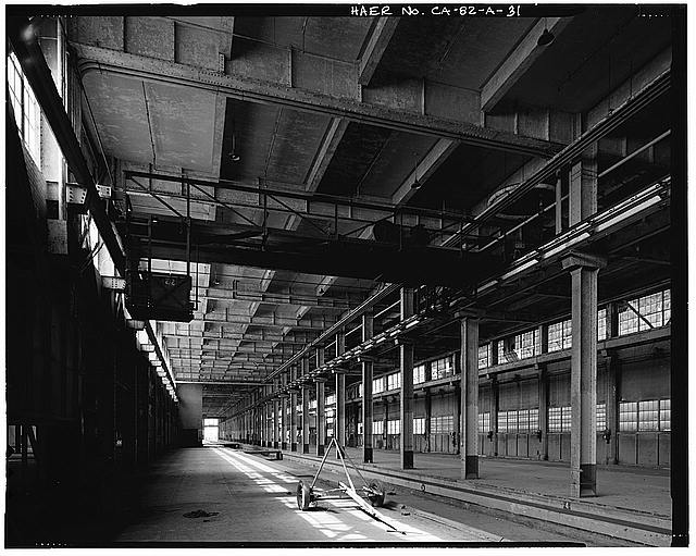 Ford Long Beach Assembly Plant LOOKING NORTH TO CRANE AND FREIGHT ELEVATOR.