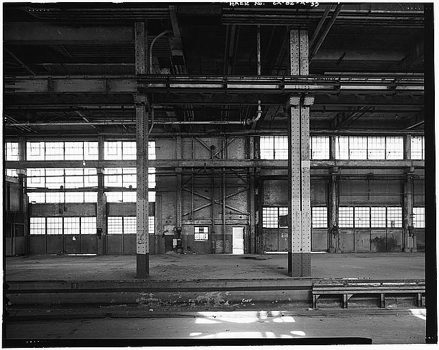 Ford Long Beach Assembly Plant LOOKING EAST ACROSS INTERIOR RAIL SPUR NEAR FREIGHT ELEVATOR.