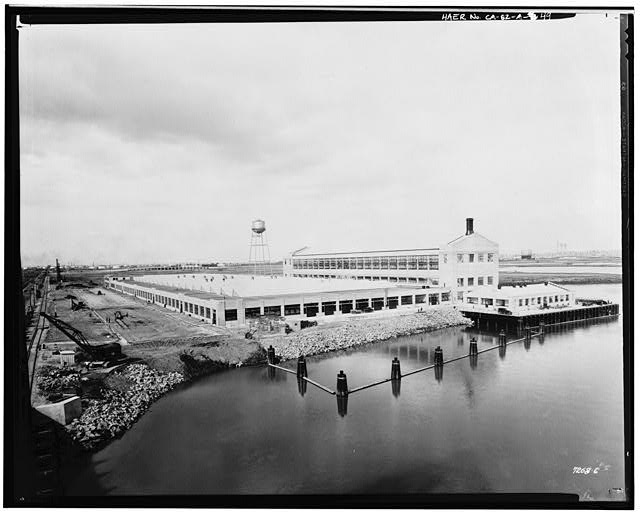 Ford Long Beach Assembly Plant 1930 OVERALL VIEW OF THE FORD MOTOR COMPANY ASSEMBLY PLANT FROM THE HENRY FORD BRIDGE, PRIOR TO CONSTRUCTION OF THE PRESSED STEEL BUILDING