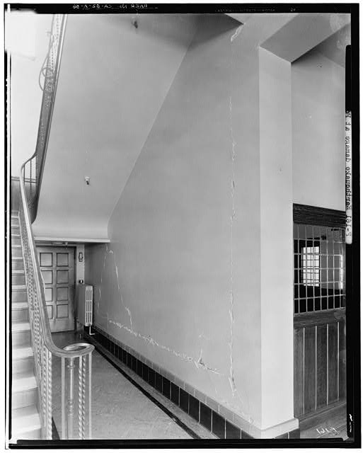 Ford Long Beach Assembly Plant Mar 18, 1933, INTERIOR-OFFICE BUILDING, LOBBY AND STAIRWELL, SHOWING DAMAGE AFTER AN EARTHQUAKE