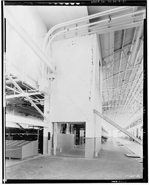 Ford Long Beach Assembly Plant Mar 18, 1933, INTERIOR-PRESSED STEEL AND WAREHOUSE BUILDINGS, 1ST FLOOR, SHOWING DAMAGE TO FREIGHT ELEVATOR SHAFT FROM EARTHQUAKE