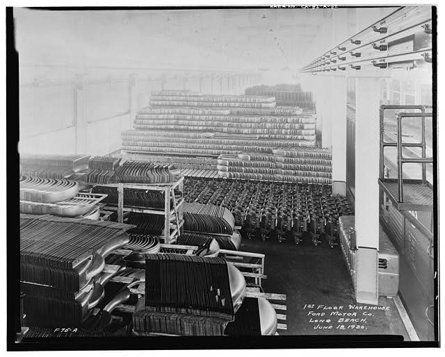 Ford Long Beach Assembly Plant Jun 18, 1930, INTERIOR-WAREHOUSE, 1ST FLOOR, STORAGE OF AUTOMOBILE COMPONENTS