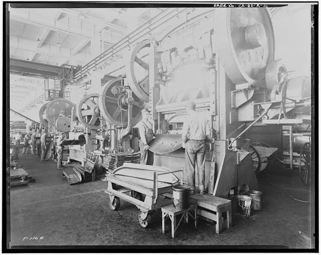 Ford Long Beach Assembly Plant Apr 24, 1931, INTERIOR-PRESSED STEEL BUILDING, SHOWING PRESSED STEEL MACHINERY
