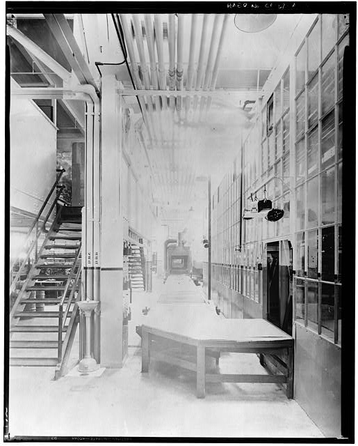 Ford Long Beach Assembly Plant Apr 13, 1930, INTERIOR-ASSEMBLY BUILDING, BURNOFF, LOAD END OF ENAMEL OVEN