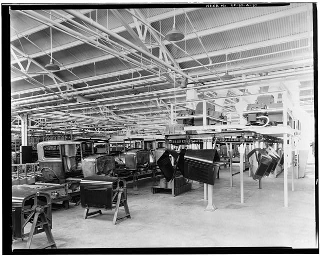 Ford Long Beach Assembly Plant Apr 13, 1930, INTERIOR-ASSEMBLY BUILDING, HOOD CONVEYOR