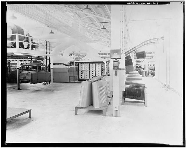 ord Long Beach Assembly Plant Apr 13, 1930, INTERIOR-ASSEMBLY BUILDING, HOOD DEPARTMENT