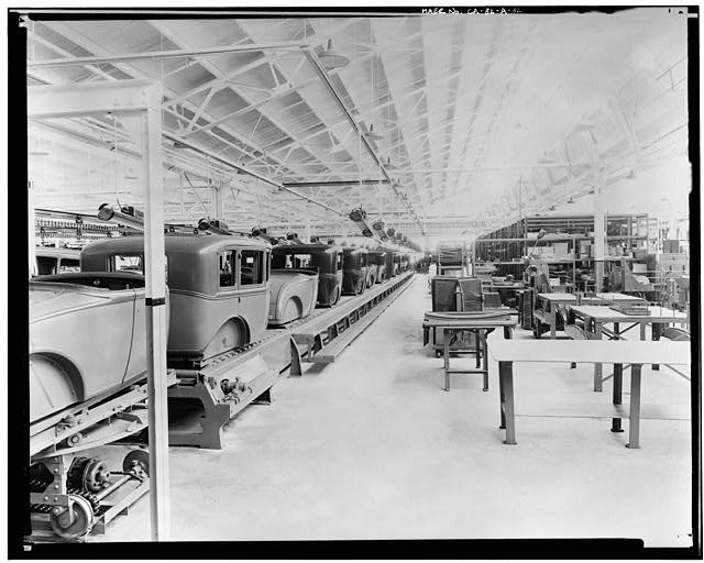Ford Long Beach Assembly Plant Apr 13, 1930, INTERIOR-ASSEMBLY BUILDING, TRIM LINE AND GLASS DEPARTMENTS