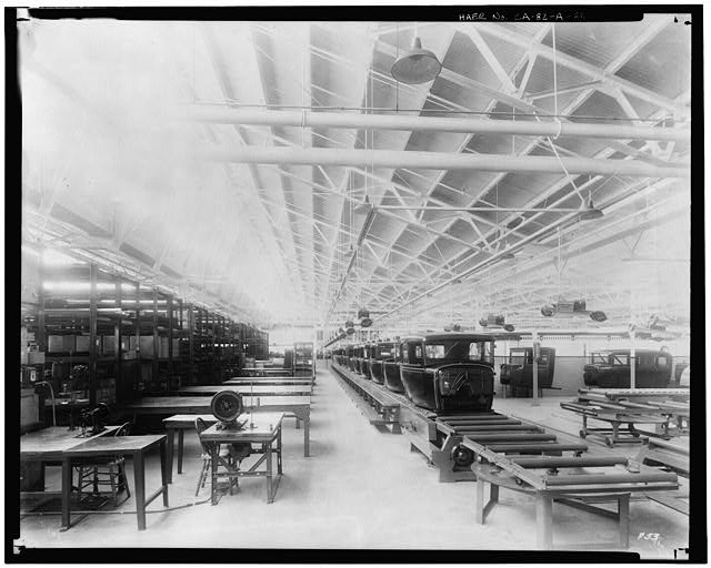 Ford Long Beach Assembly Plant Apr 13, 1930, INTERIOR-ASSEMBLY BUILDING, BACK TRIM LINE