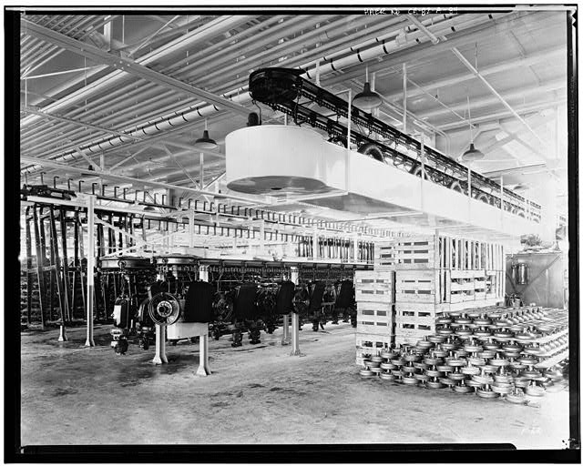 Ford Long Beach Assembly Plant Apr 13, 1930, INTERIOR-ASSEMBLY BUILDING, FRAME AND MOTOR STORAGE CONVEYOR