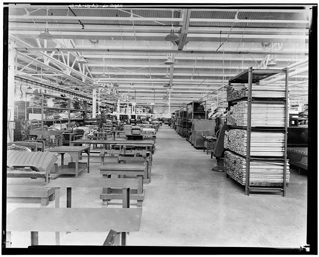 Ford Long Beach Assembly Plant Apr 13, 1930, INTERIOR-ASSEMBLY BUILDING, BODY AND CUSHION LINE