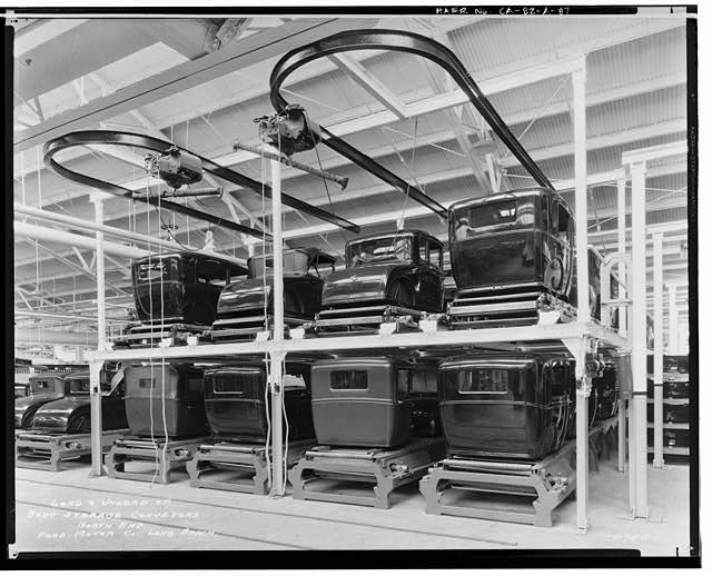 Ford Long Beach Assembly Plant Jun 14, 1930, INTERIOR-ASSEMBLY BUILDING, BODY STORAGE CONVEYORS