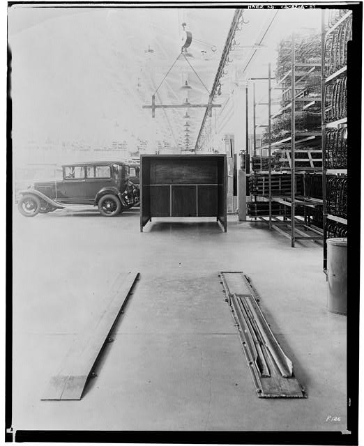 Ford Long Beach Assembly Plant Jul 21, 1931, INTERIOR-ASSEMBLY BUILDING, SHOWING HEADLIGHT TESTING BOOTH