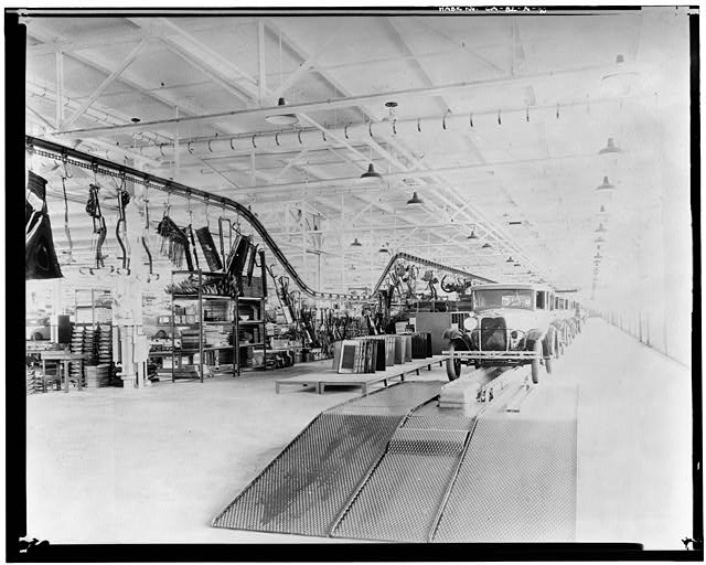 ord Long Beach Assembly Plant Apr 13, 1930, INTERIOR-ASSEMBLY BUILDING, CHASSIS LINE, LOOKING SOUTH