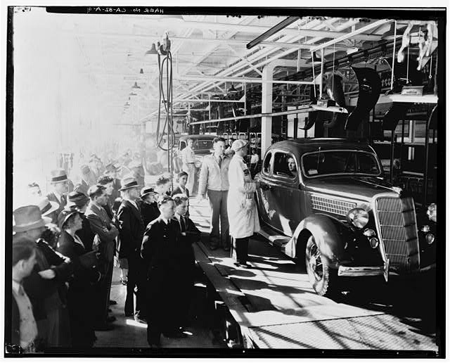 Ford Long Beach Assembly Plant Apr 24, 1936, INTERIOR-ASSEMBLY BUILDING, FINISHED CARS AT THE END OF THE ASSEMBLY LINE