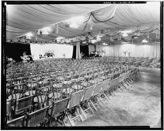 Ford Long Beach Assembly Plant Mar 29, 1932, INTERIOR-ASSEMBLY BUILDING, STAGE AND EXHIBITION ROOM