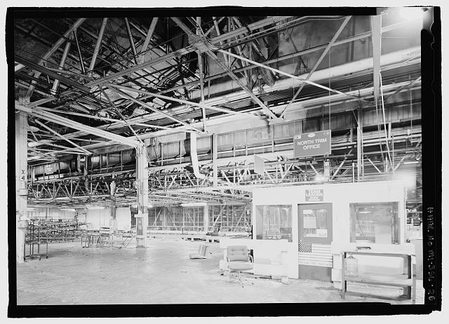 Ford River Rouge Plant B Building NORTHERN END OF HISTORIC ASSEMBLY PLANT, LOOKING N, X4, COLUMN 3. TEAM LEADER WORK STATION ON SECOND FLOOR.