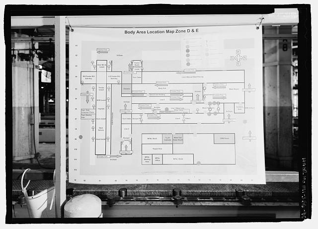 Ford River Rouge Plant B Building BODY AREA LOCATION MAP, LOOKING W, ZONES D & E, X8, COLUMN 73 ON FIRST FLOOR.