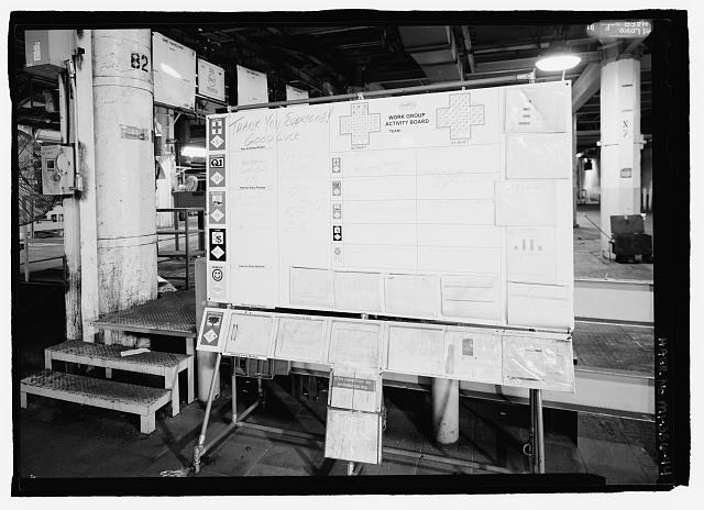 Ford River Rouge Plant B Building WORK GROUP ACTIVITY BOARD, X6, COLUMN 82, LOOKING W ON NORTH END OF FIRST FLOOR.