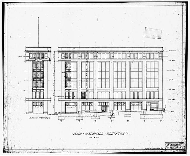 Ford Building Washington DC Building Plans JOHN MARSHALL PLACE (EAST) ELEVATION