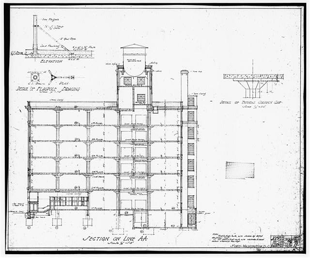 Ford Building Washington DC Building Plans SECTION ON LINE A A