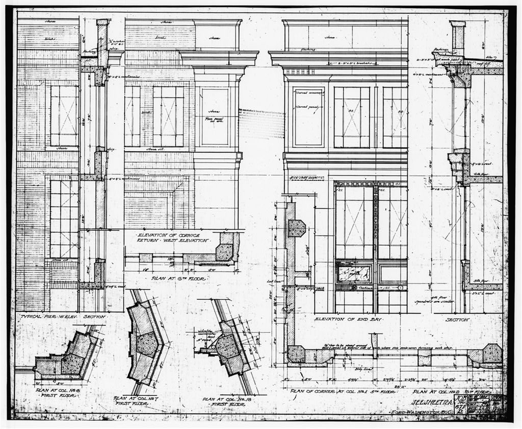 Ford Building Washington DC Building Plans DETAILS OF CORNICE (ELEVATIONS)